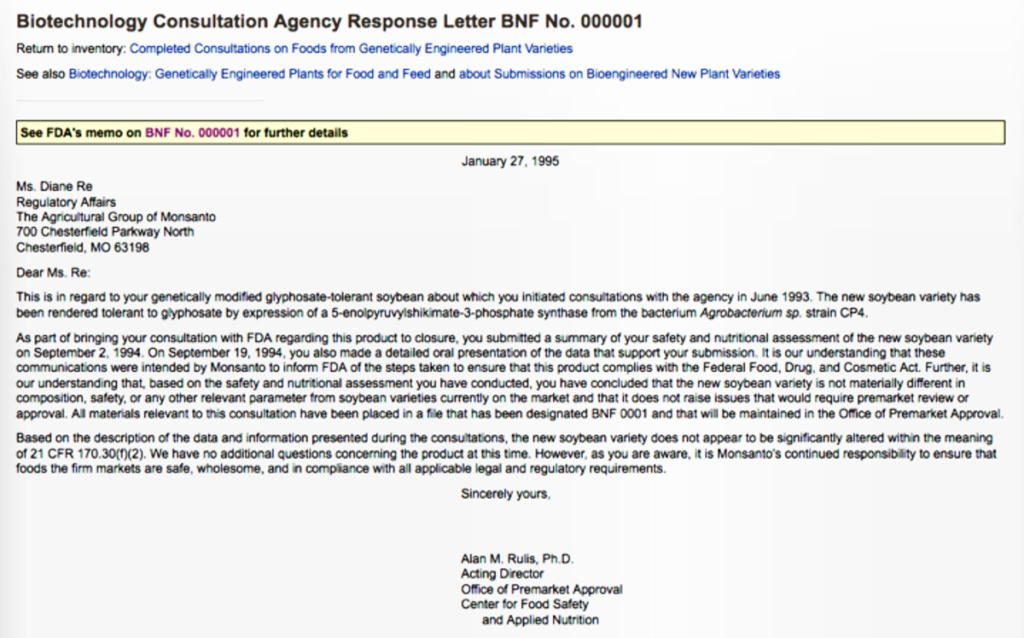 Letter from the US FDAs Center for Food Safety